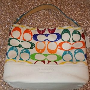 Coach Genuine white leather Multi color bag